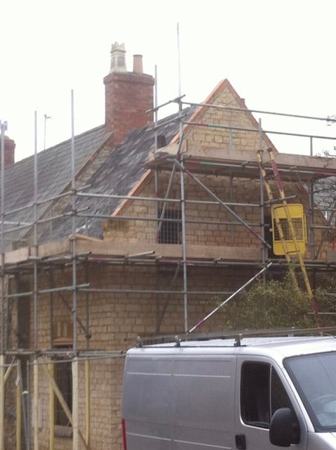Mid construction extension in stone
